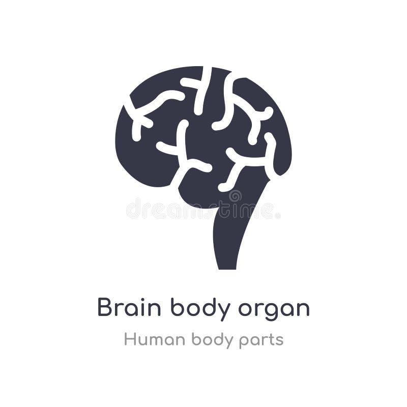 icône d'ensemble d'organe de corps de cerveau ligne d'isolement illustration de vecteur de collection de pi?ces de corps humain c illustration stock