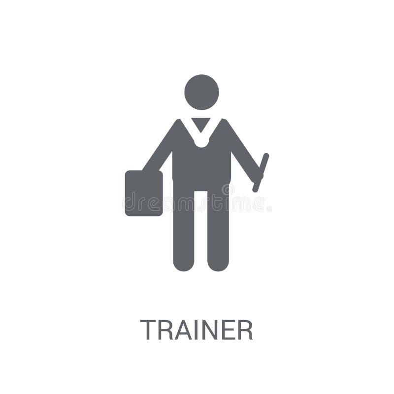 Icône d'entraîneur Concept à la mode de logo d'entraîneur sur le fond blanc franc illustration libre de droits