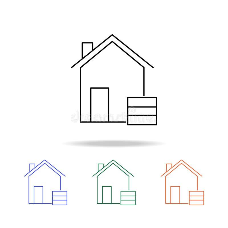 Icône d'entrepôt Éléments des immobiliers dans les icônes colorées multi Icône de la meilleure qualité de conception graphique de illustration stock