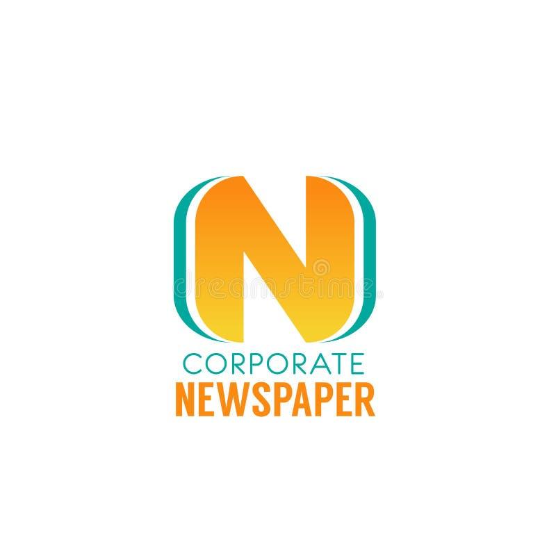 Icône d'entreprise de vecteur de la lettre N de journal illustration de vecteur