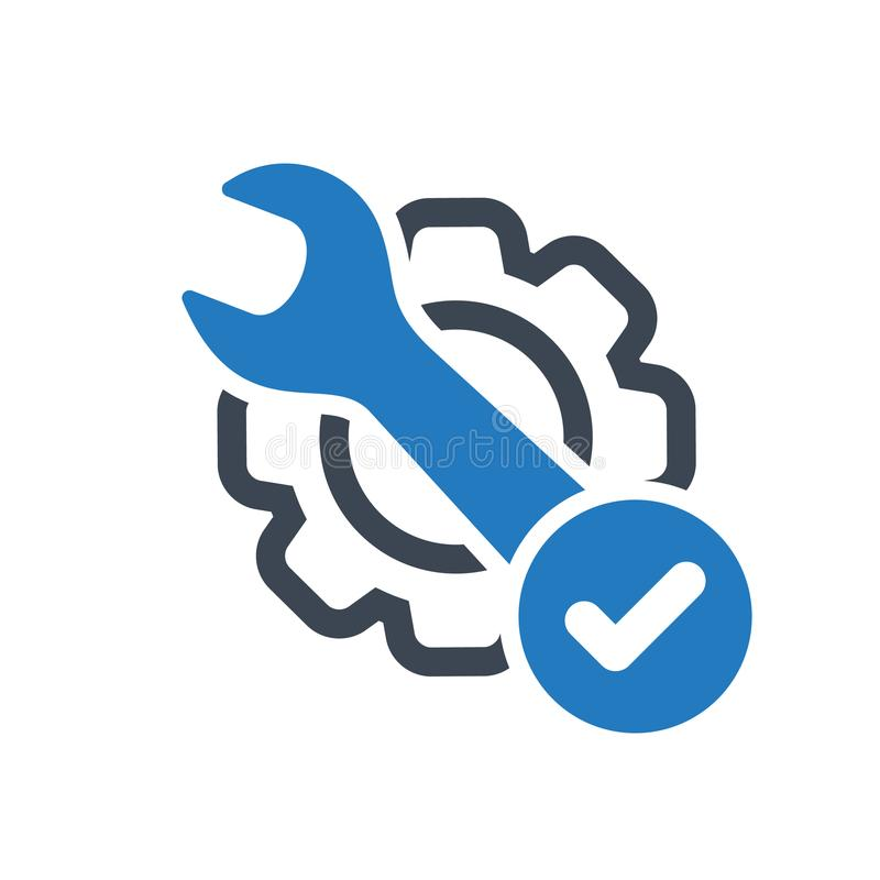 Icône d'entretien avec le signe de contrôle L'icône d'entretien et approuvé, confirment, fait, coutil, symbole réalisé illustration libre de droits