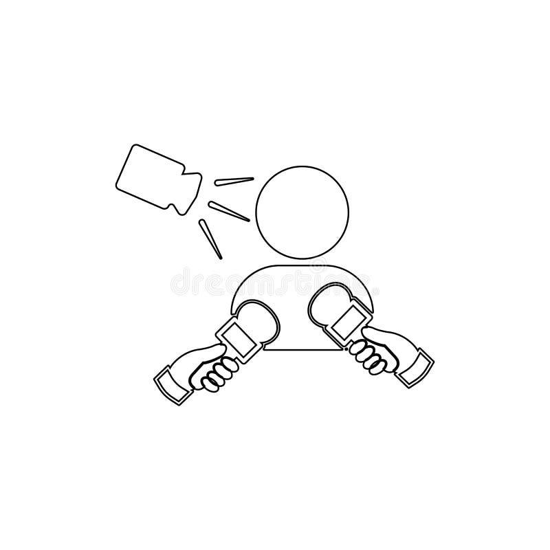 Icône d'entrevue d'actualités Élément des médias pour l'illustration mobile d'applis de concept et de Web Ligne mince icône pour  illustration stock