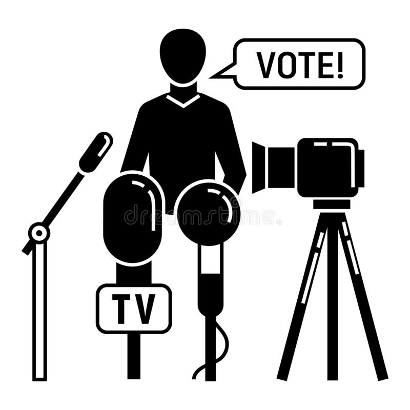 Icône d'entrevue de candidat politique, style simple illustration libre de droits