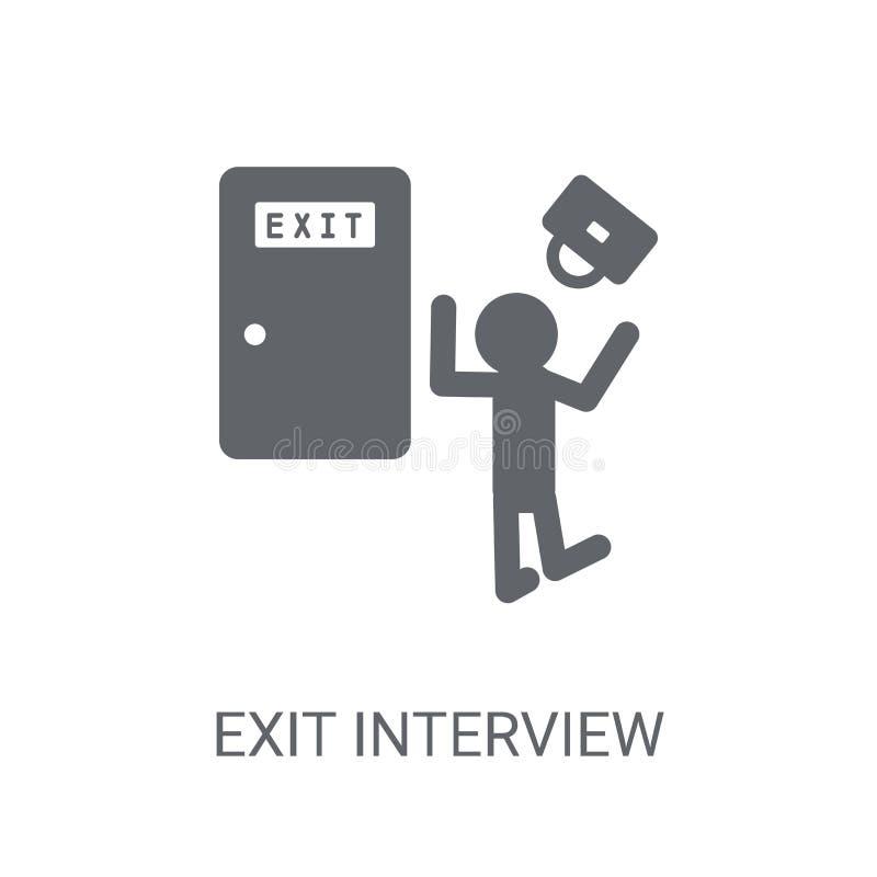 Icône d'entrevue de sortie Concept à la mode de logo d'entrevue de sortie sur le blanc illustration libre de droits