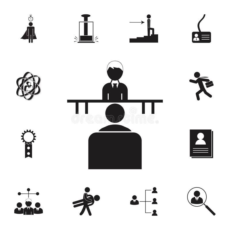 Icône d'entrevue d'emploi Ensemble détaillé d'icônes de chasse d'heure et de chaleur Signe de la meilleure qualité de conception  illustration stock