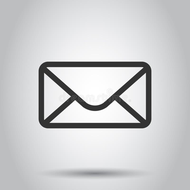 Icône d'enveloppe de courrier dans le style plat Recevez l'illustration de vecteur de Spam de lettre d'email sur le fond blanc r illustration libre de droits