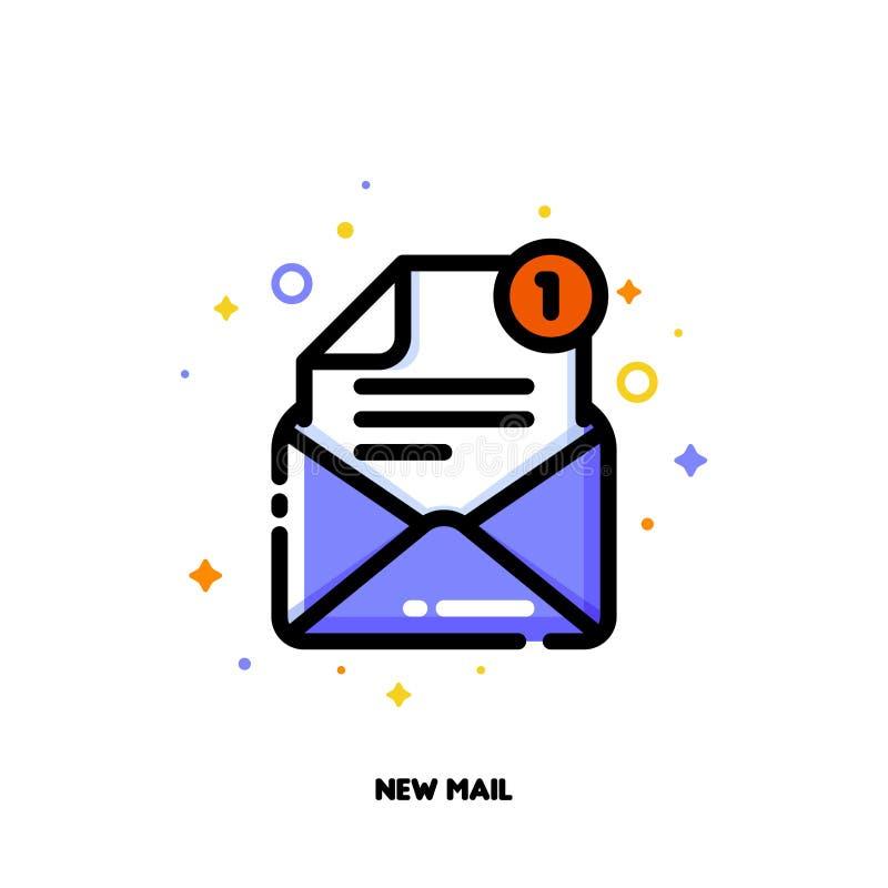 Icône d'enveloppe ouverte pour le nouveau concept de courrier Contour rempli par appartement illustration de vecteur