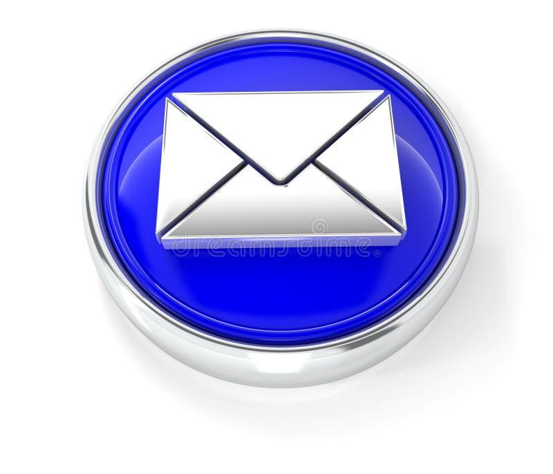 Icône d'enveloppe sur le bouton rond bleu brillant illustration de vecteur
