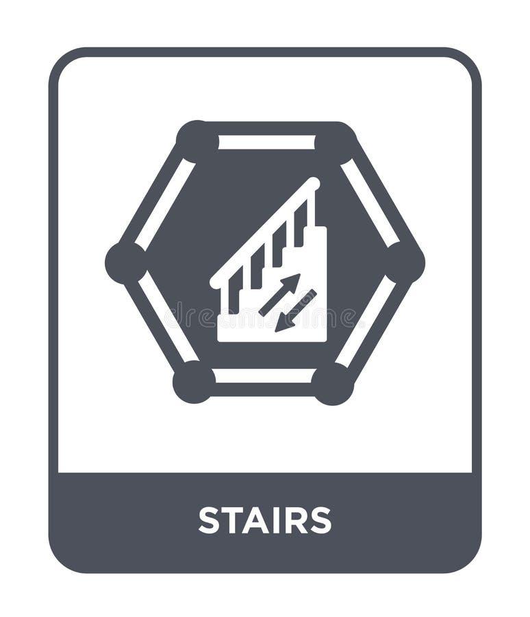 icône d'escaliers dans le style à la mode de conception Icône d'escaliers d'isolement sur le fond blanc symbole plat simple et mo illustration libre de droits