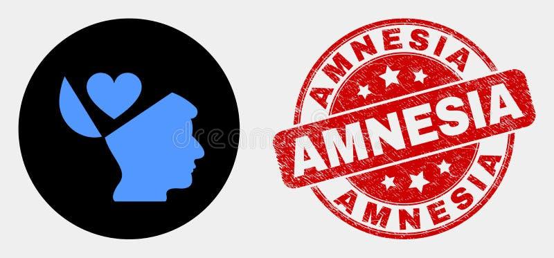 Icône d'esprit ouvert de favoris de vecteur et filigrane grunge d'amnésie illustration libre de droits