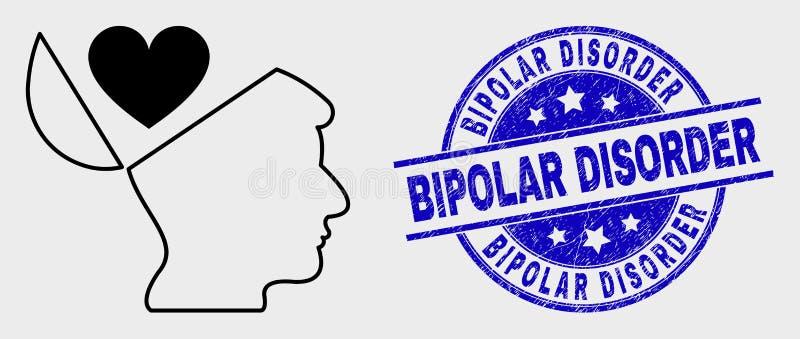 Icône d'esprit ouvert de favoris de vecteur et joint linéaires de trouble bipolaire de détresse illustration de vecteur