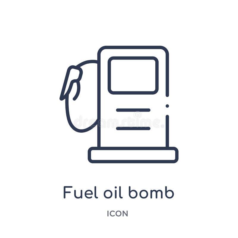 icône d'essence et d'huile de service de bombe de collection d'ensemble d'outils et d'ustensiles Ligne mince icône d'essence et d illustration stock