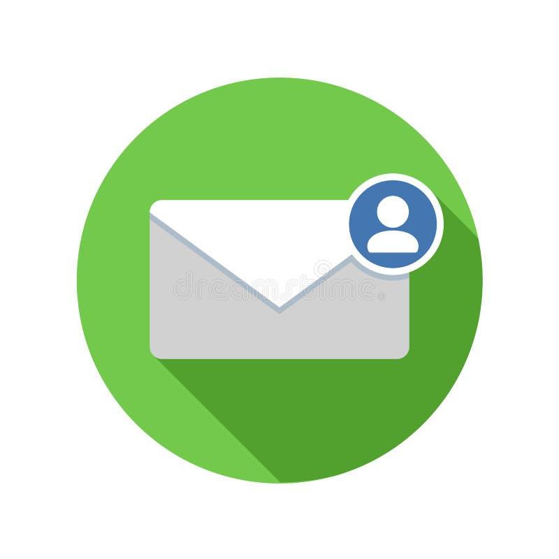 Icône d'expéditeur de courrier Icône d'email avec la longue ombre illustration stock