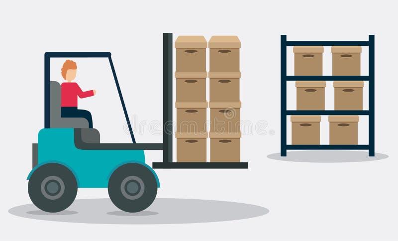 Icône d'expédition de la livraison de chariot élévateur de boîte Dessin de vecteur illustration stock