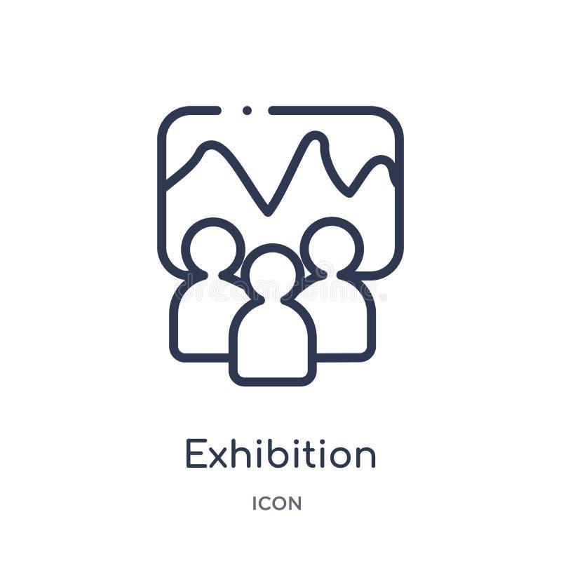 Icône d'exposition de collection d'ensemble de musée Ligne mince icône d'exposition d'isolement sur le fond blanc illustration de vecteur