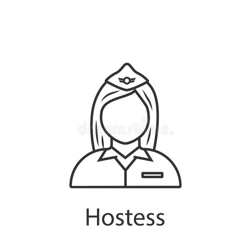 Icône d'hôtesse Élément d'icône d'avatar de profession pour des applis mobiles de concept et de Web L'icône détaillée d'hôtesse p illustration libre de droits