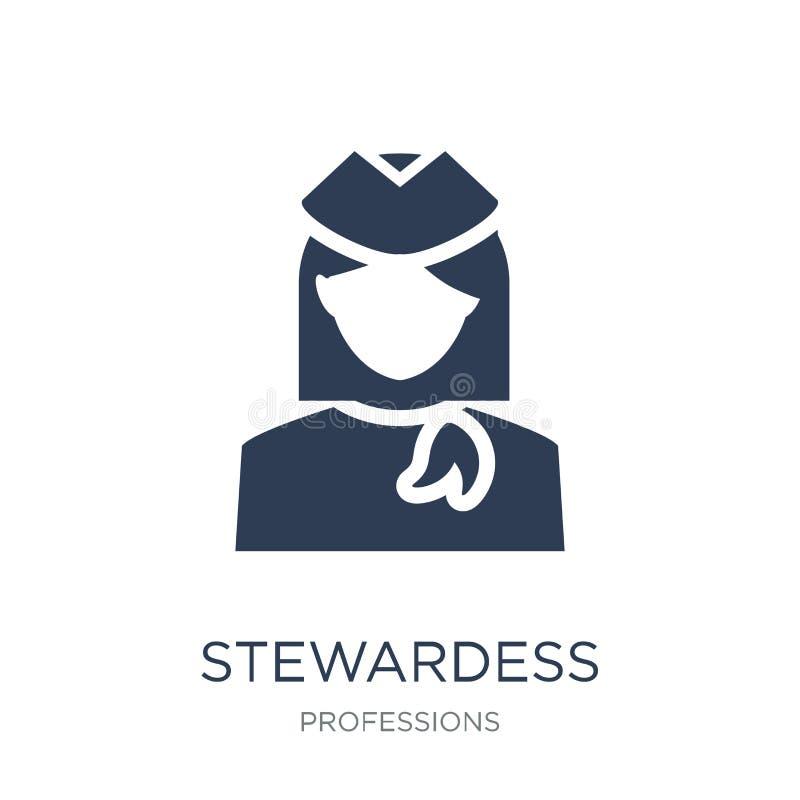 Icône d'hôtesse Icône plate à la mode d'hôtesse de vecteur sur le CCB blanc illustration stock