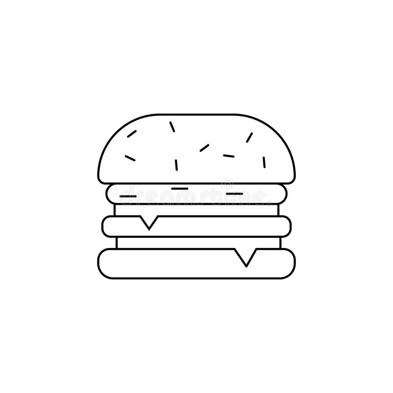 Icône d'hamburger Élément des aliments de préparation rapide pour les apps mobiles de concept et de Web Ligne mince icône pour la illustration de vecteur