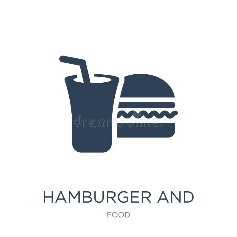 icône d'hamburger et de boissons dans le style à la mode de conception Icône d'hamburger et de boissons d'isolement sur le fond b illustration libre de droits