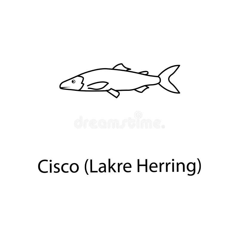 icône d'harengs de lakre Élément d'espèce marine pour les apps mobiles de concept et de Web La ligne mince icône d'harengs de lak illustration stock