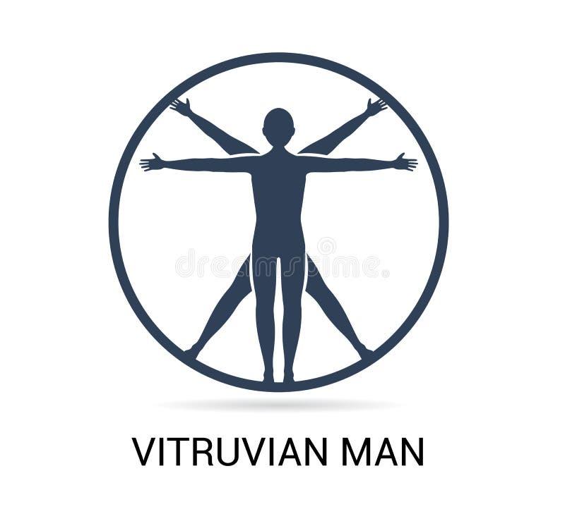Icône d'homme de Vitruvian, logo dans le style à la mode de conception, icône d'homme, homme, symbole plat simple et moderne d'ic illustration libre de droits
