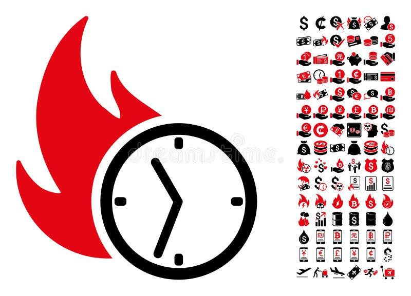 Icône d'horloge de brûlure de date-butoir avec 90 pictogrammes de bonification illustration stock