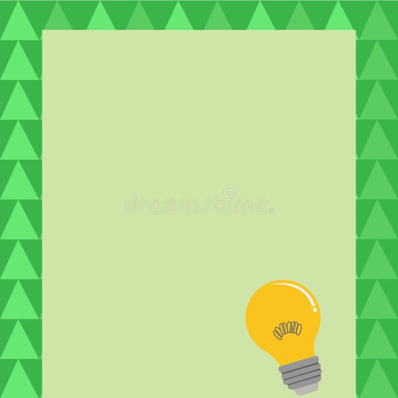 Icône d'idée d'ampoule avec le filament sur le papier vide de couleur Lampe à incandescence avec le fil de bobine se reposant sur illustration stock