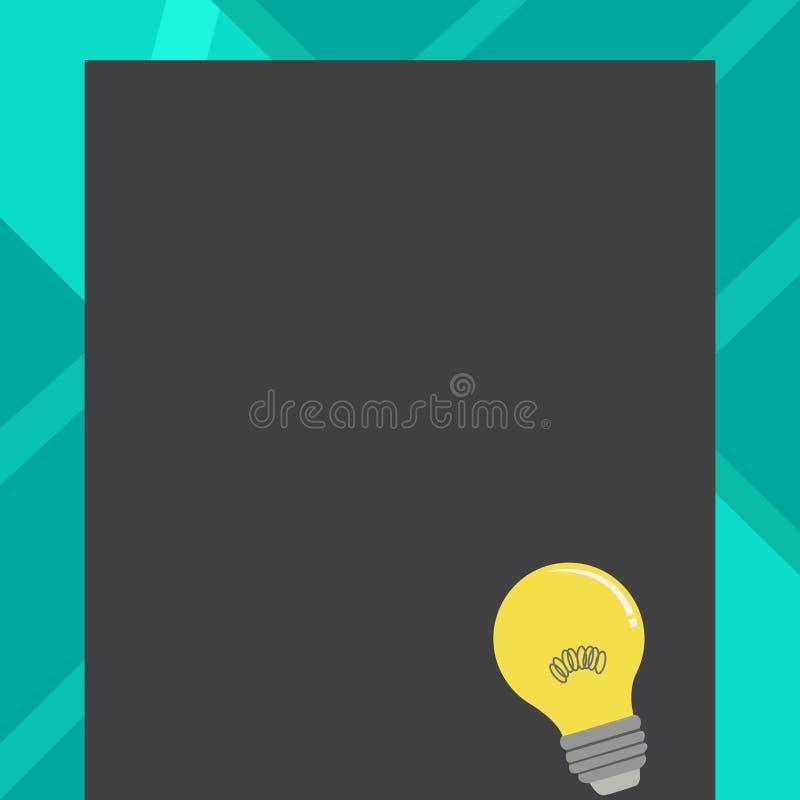 Icône d'idée d'ampoule avec le filament sur le papier vide de couleur Lampe à incandescence avec le fil de bobine se reposant sur illustration libre de droits