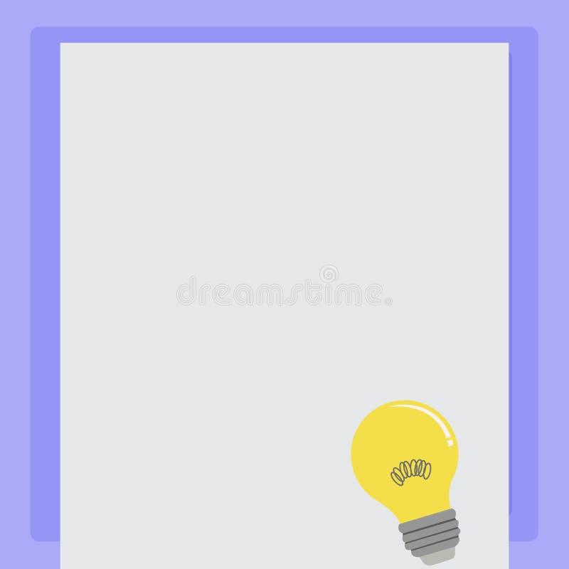 Icône d'idée d'ampoule avec le filament sur le papier vide de couleur Lampe à incandescence avec le fil de bobine se reposant sur illustration de vecteur
