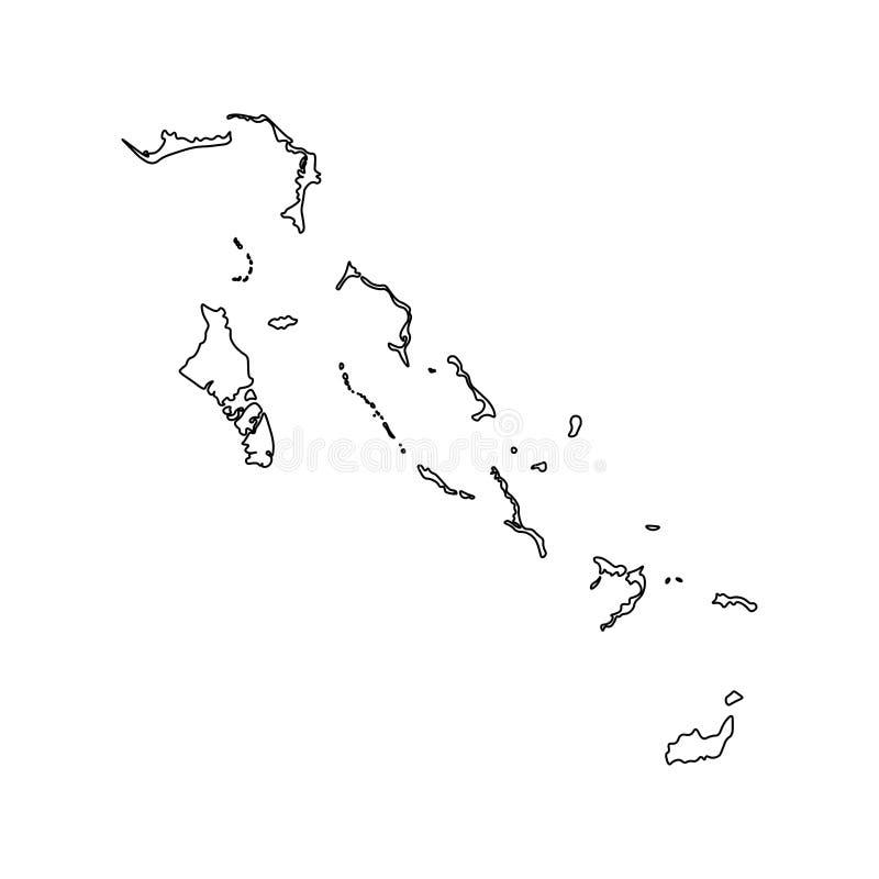 Icône d'illustration d'isolement par vecteur avec la ligne noire silhouette de la carte simplifiée des Bahamas illustration libre de droits
