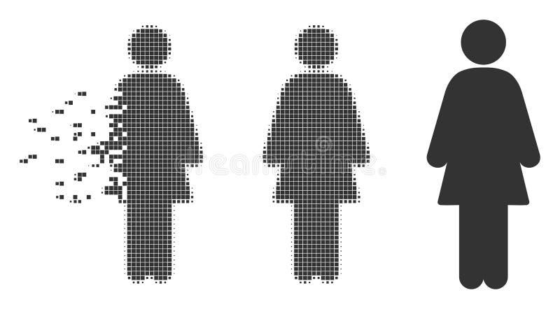 Icône d'image tramée de pixel dispersée par femelle illustration de vecteur