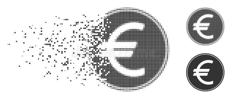 Icône d'image tramée de pixel réduite en fragments euro par pièce de monnaie illustration libre de droits