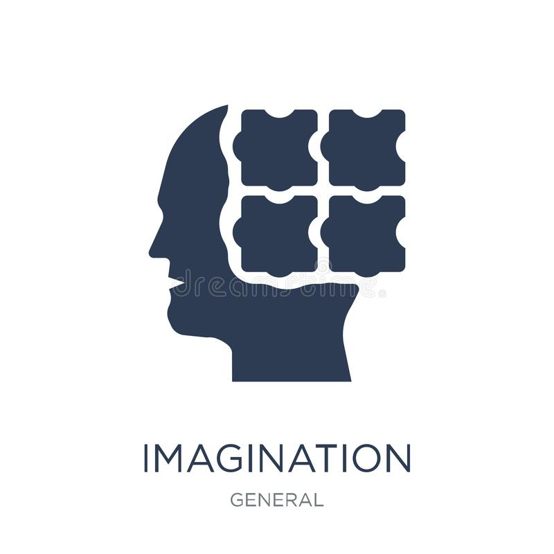 Icône d'imagination Icône plate à la mode d'imagination de vecteur sur b blanc illustration de vecteur