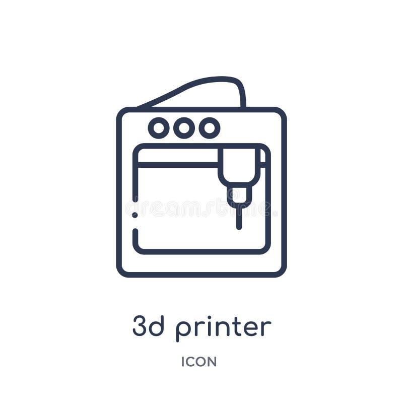 Icône d'imprimante 3d linéaire de la future collection d'ensemble de technologie Ligne mince icône d'imprimante de 3d d'isolement illustration de vecteur