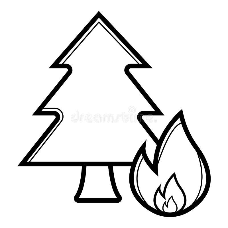Icône d'incendie de forêt illustration de vecteur