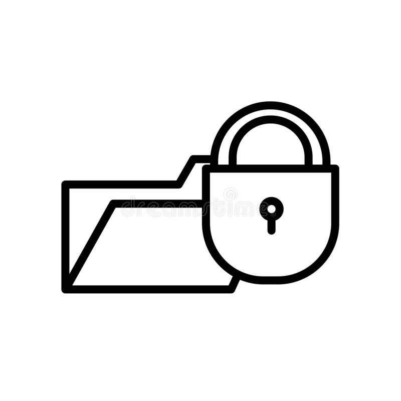 icône d'infraction de données d'isolement sur le fond blanc illustration stock
