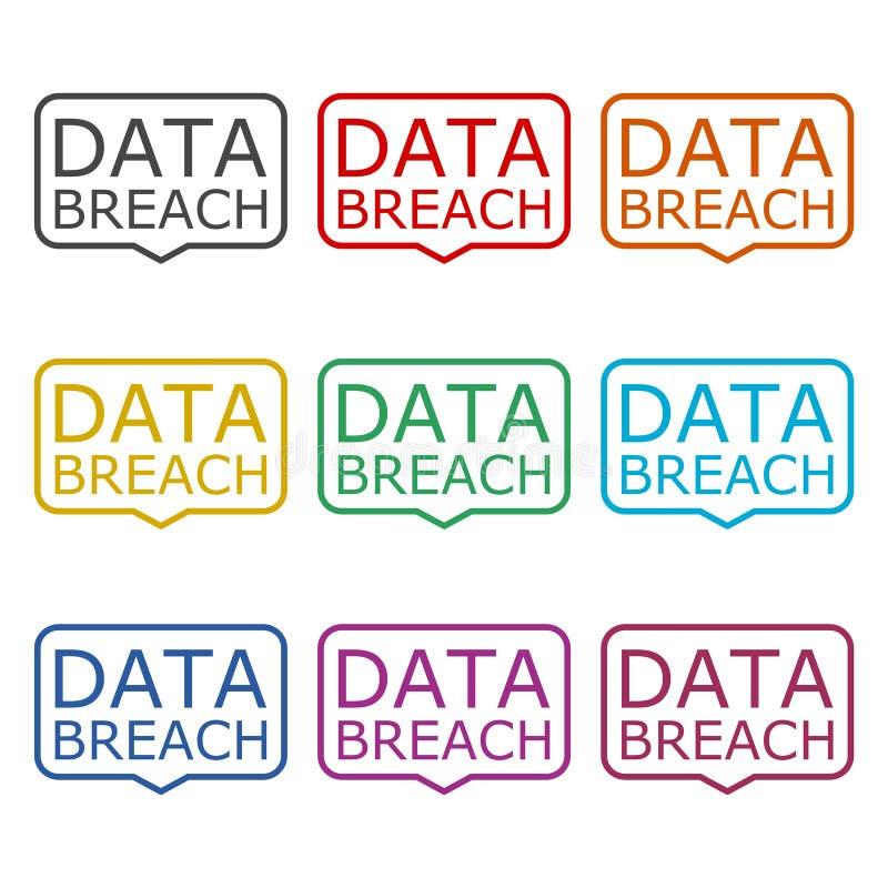Icône d'infraction de données ou logo, ensemble de couleur illustration de vecteur