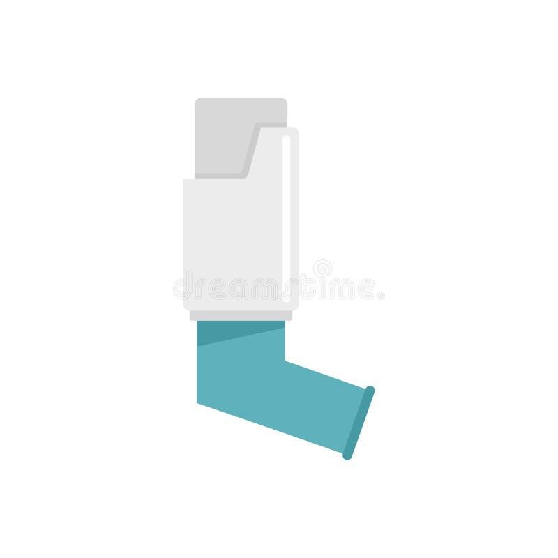 Icône d'inhalateur d'asthme, style plat illustration de vecteur
