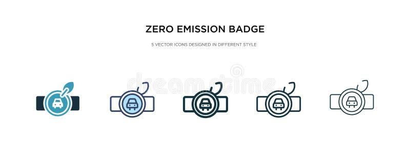 Icône d'insigne d'émission zéro dans un vecteur de style différent deux icônes vectorielles de badge à zéro émission colorées et  illustration de vecteur