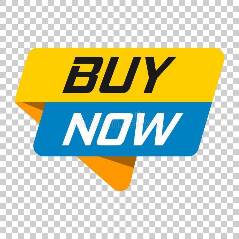 Icône d'insigne de bannière d'acheter maintenant Illustration de vecteur sur le transport d'isolement illustration stock