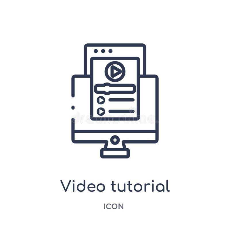 Icône d'instruction visuelle linéaire de collection d'ensemble d'Elearning et d'éducation Ligne mince vecteur d'instruction visue illustration libre de droits