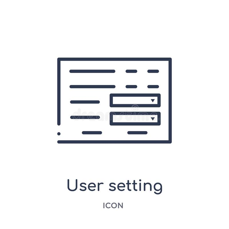 icône d'interface d'arrangement d'utilisateur de collection d'ensemble d'interface utilisateurs Ligne mince icône d'interface d'a illustration stock