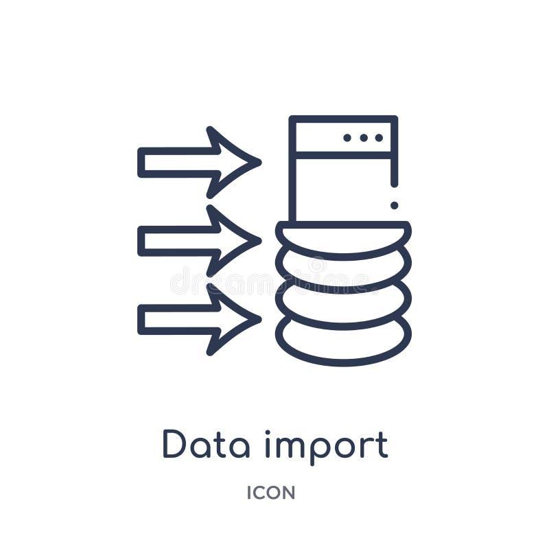 icône d'interface d'importation de données de collection d'ensemble d'interface utilisateurs Ligne mince icône d'interface d'impo illustration stock