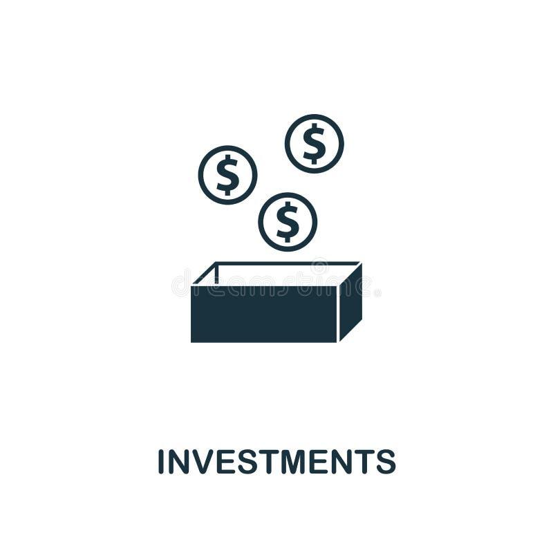 Icône d'investissements Conception de la meilleure qualité de style de la collection de démarrage d'icône UI et UX Icône parfaite illustration stock