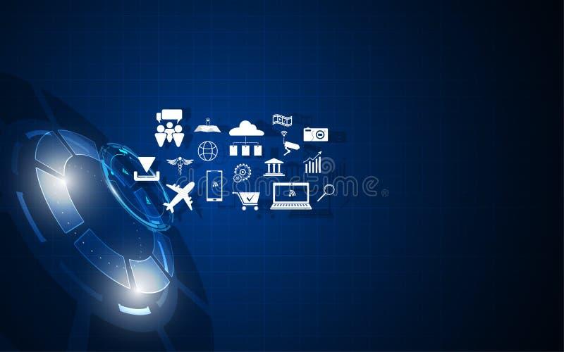 Icône d'IOT sur le fond numérique circulaire de technologie illustration stock