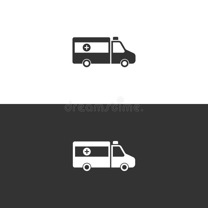 Icône d'isolement d'ambulance sur le fond noir et blanc illustration de vecteur