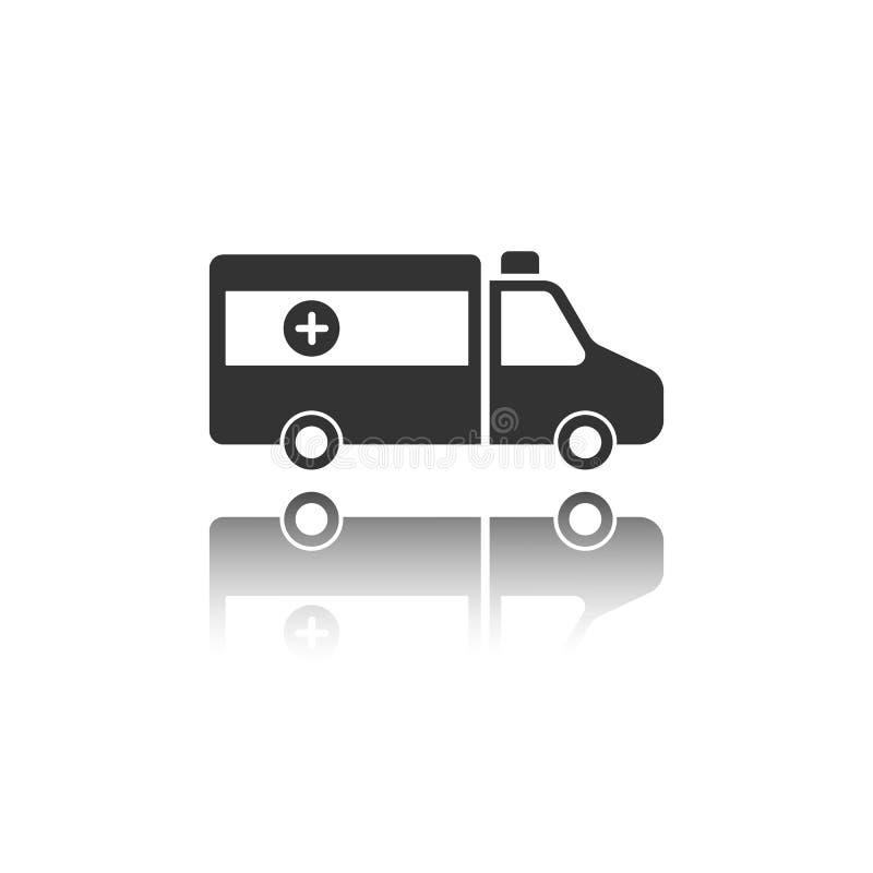 Icône d'isolement d'ambulance sur un fond blanc avec la réflexion illustration de vecteur