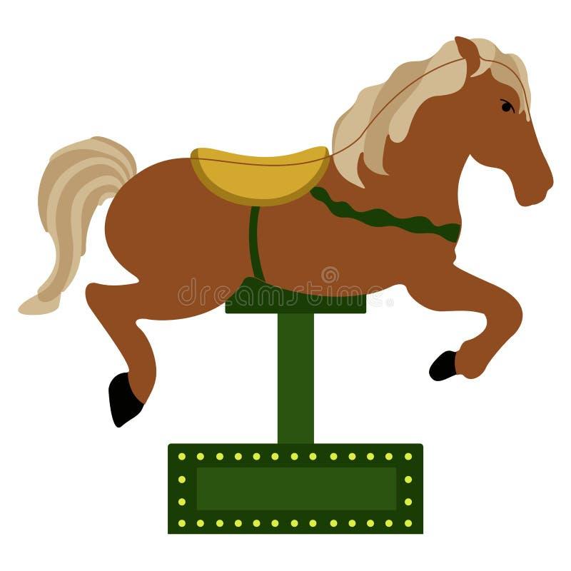 Icône d'isolement de cheval de carrousel illustration stock