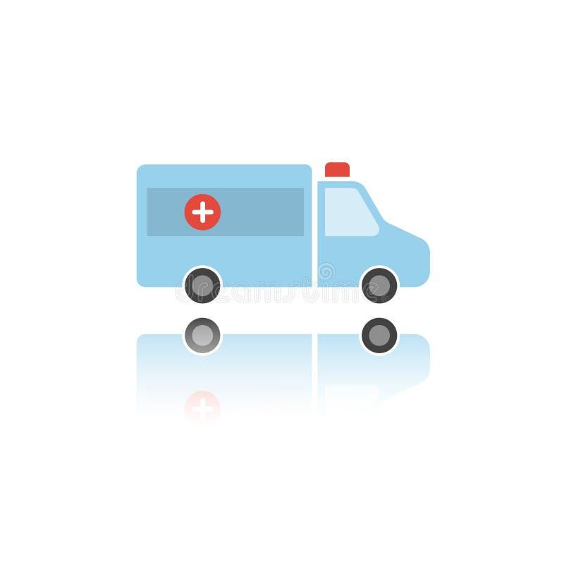 Icône d'isolement de couleur d'ambulance avec la réflexion illustration de vecteur