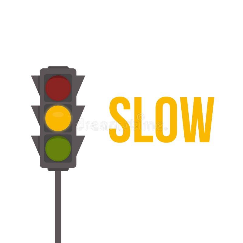 Icône d'isolement de feu de signalisation Illustration de vecteur de lumières jaunes L'intersection de route, signe réglementaire illustration libre de droits
